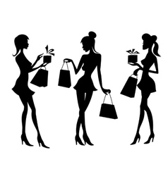 Girls and women with shopping bags vector