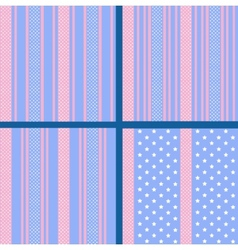 Pastel striped star patterns vector