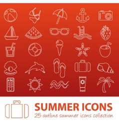 Summer outline icons vector