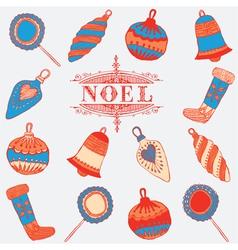 Noel card christmas decorations vector