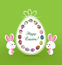 Happy easter greeting card with eggs vector