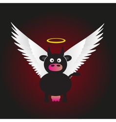 Black saint cow with great white wings eps10 vector