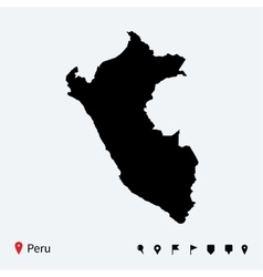 High detailed map of peru with navigation pins vector