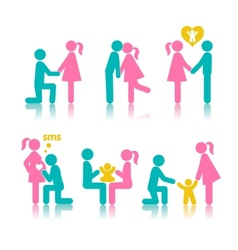 Set of icons stages of creating a family vector