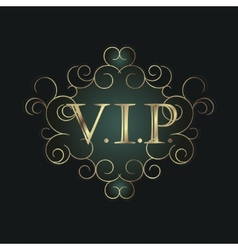 Vip symbol in scroll frame vector