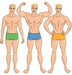 Set of young athletic guys in shorts vector