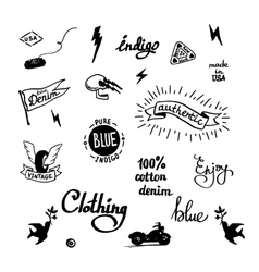 Old school denim biker symbols vector