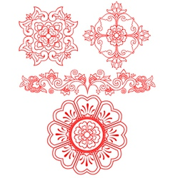 Floral scroll element vector