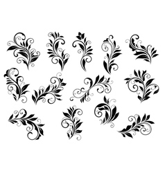 Retro floral motifs and foliate vignettes set vector