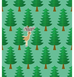 Seamless pattern with forest and deers vector