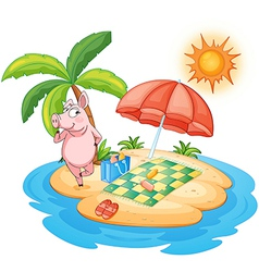 A beach with a pig enjoying summer vector