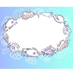 Frame with fishes and cockleshell vector