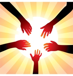 Hands around sun vector