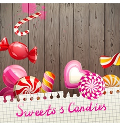 Sweets and candies background vector