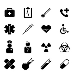 Set of black flat icons - medicine and healthcare vector
