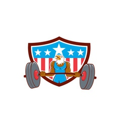 Bald eagle weightlifter barbell usa flag vector