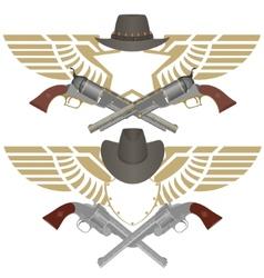 Cowboy pistols vector