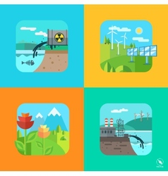 Urban and village landscape ecology environment vector