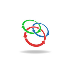 Three circles arrows loop logo cycles three vector