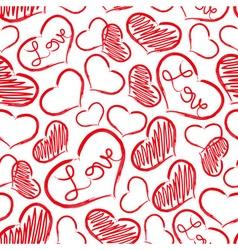 Red love heart symbols grunge hand-drawn pattern vector