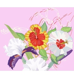Hibiscus and iris on a pink background vector