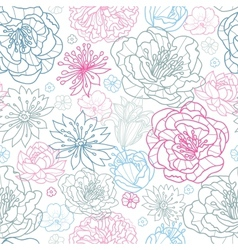 Gray and pink lineart florals seamless pattern vector