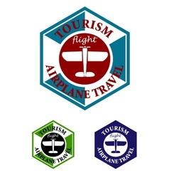 Retro airplane travel label or icon vector
