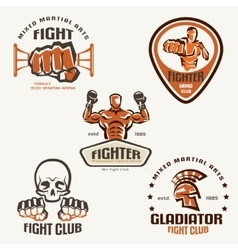 Set of fighting club emblems mma boxing labels and vector