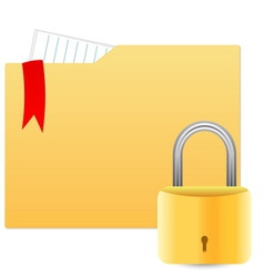 Security concept with file folder and padlock vector