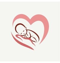Newborn baby lying on the hand symbol childbirth vector