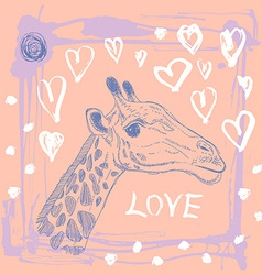 Card with cute giraffe and heart sketch love pink vector