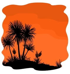 Palm tree and plants yucca silhouettes vector