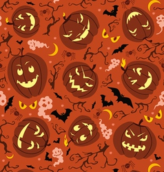 Scary pumpkins seamless pattern vector