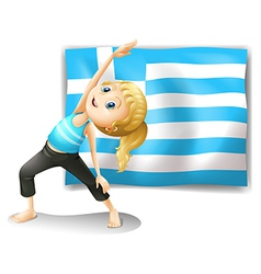 The flag of greece and a young girl exercising vector