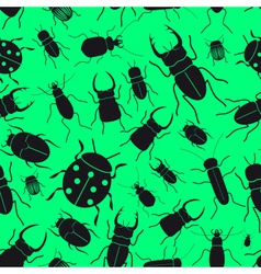 Black bugs and beetles green seamless pattern vector