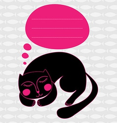 Greeting card with sleeping cat vector