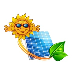 Solar panel and cartoon sun character vector