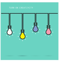 Creative light bulb symbol with turn on creativity vector