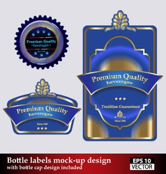 Bottle and bottle cap labels vector