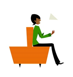 Side view of man sitting vector