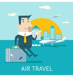 Happy cartoon businessman character travel vector