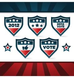 Voting patriotic shields vector
