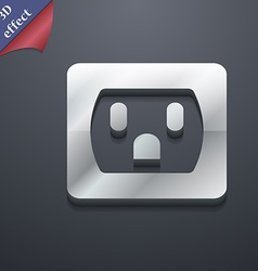 Electric plug power energy icon symbol 3d style vector