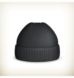 Knitted black cap vector