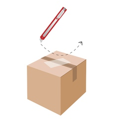 Correct cutting procedure to open a cardboard box vector