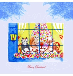 Card with christmas eve a dog and a cat vector