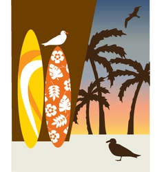 Surf boards and palm trees vector