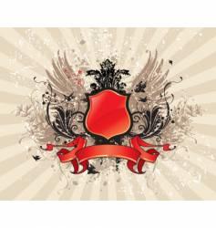 Vintage illustration with red banner vector
