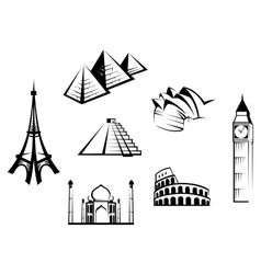 Historical landmarks set vector