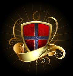 Dark shield with golden ribbon vector